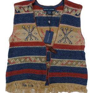 Ralph Lauren VintageStyle Cardigan Vest Linen Silk